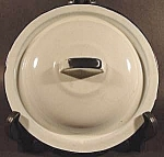 White Graniteware Lid with Black Trim ~ 7-7/8 inch