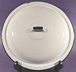 Large White Graniteware Lid with Black Trim