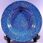 Blue Graniteware Soup Plate with White Specks