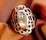 Filigree Ring with Diamond - 10K Yellow Gold - Size 8