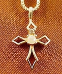 10K Yellow Gold Cross with Opal - 18 inch Chain