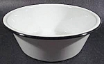 Click here to enlarge image and see more about item C90: White Graniteware Pan with Black Trim - 7-1/4 inch