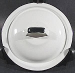 Click here to enlarge image and see more about item C92: White Graniteware Lid with Black Trim - 7 inch