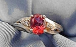 Pink Tourmaline & Diamond Ring - 10K Y.G. - Size 7