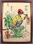 Pen and Ink Drawing - Toilet Scene - Signed