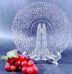 Click here to enlarge image and see more about item D118: Crackle Pattern Dessert Plate - McKee Glass - 1920s