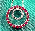 Ruby and Diamond Circle Pendant - 10K Yellow Gold