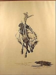 Click here to enlarge image and see more about item D16: Boyd Print - Western Bareback Bronco Rider - Signed
