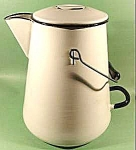 Click here to enlarge image and see more about item D20: Large Graniteware Coffee Boiler - White with Black Trim