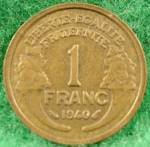 Click to view larger image of France 1 Franc Coin - 1940 (Image1)