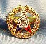 Click here to enlarge image and see more about item D274: Order of Eastern Star Gold Wash Enameled Pin
