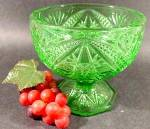 Click here to enlarge image and see more about item D310: Green Glass Compote - Diamond Fan & Hobnail Pattern