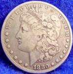 Click to view larger image of Morgan Type Silver Dollar Coin - 1880-O (Image1)