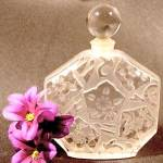Click here to enlarge image and see more about item D350: Frosted Floral Crystal Perfume Bottle - France
