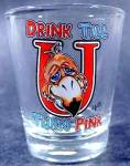 Click here to enlarge image and see more about item D392: Drink Till You Turn Pink Shot Glass ~ Flamingo?