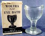 Click here to enlarge image and see more about item D396: Woltra Flint Eye Bath Cup ~ MIB