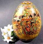 Click here to enlarge image and see more about item D397: Asian Oriental Satsuma Geisha Scene Porcelain Egg