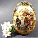 Click here to enlarge image and see more about item D398: Asian Oriental  Satsuma Garden Scene porcelain Egg