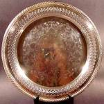 Click here to enlarge image and see more about item D459: Silver Plate Round Tray - Reticulated Border - Rogers