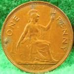 Great Britain One Penny Cent Coin - 1937