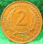 Click here to enlarge image and see more about item D496: British Caribbean Territories 2 Cent Coin - 1965