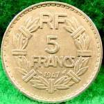Click to view larger image of France 5 Franc Coin - 1947 (Image1)