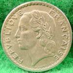 Click to view larger image of France 5 Franc Coin - 1947 (Image2)