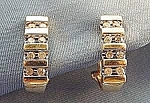 Click here to enlarge image and see more about item D5: Diamond Bar Earrings - 10K Yellow Gold - Pierced