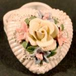 Click here to enlarge image and see more about item D600: Heart Trinket Box - Ceramic Applied Flowers