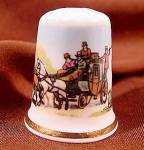 Click here to enlarge image and see more about item D630: Royal Coach Thimble - Staffordshire, England
