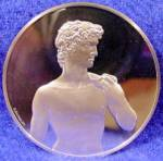 Click here to enlarge image and see more about item D684: 1.32 oz Proof Silver Round - DAVID STATUE - .925