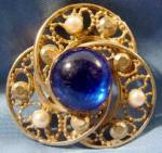 Brooch Pin - Faux Pearls and Blue Stone - Vintage
