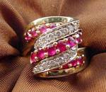 Click to view larger image of Diamond and Ruby Designer Ring - Size 9 - 14K  Y.G. (Image1)