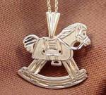14K Yellow Gold Rocking Horse Pendant - 21 inch Chain