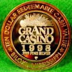 Click to view larger image of GRAND CASINO $10 Silver Strike - BLACKJACK (Image2)
