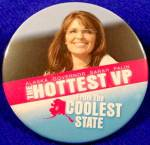Click here to enlarge image and see more about item D790: HOTTEST VP Political Campaign Button - 2008