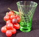 Green Crystal Engraved Juice Glass - Vintage