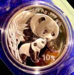Click here to enlarge image and see more about item D846: 2004 PANDA  10 Y  Coin 1 oz.- .999 Silver - LOW MINTAGE