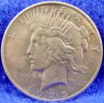 Click here to enlarge image and see more about item D848: Peace Dollar Silver Coin - 1925