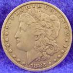 Click here to enlarge image and see more about item D852: Morgan Type Silver Dollar Coin 1883