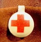 Click here to enlarge image and see more about item E234: Red Cross Lapel Pin Button - Vintage
