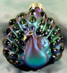 Click here to enlarge image and see more about item E262: Ornament - Peacock - Christmas - Indigo