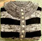 Click here to enlarge image and see more about item E349: Black Stripe Ladies Cardigan Sweater - Lauren Brooks