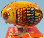 Click here to enlarge image and see more about item E366: Pecking Chick - Tin Lithograph Wind-up Toy - NIB
