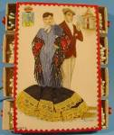Click here to enlarge image and see more about item E370: Hand Embroidered Postcard Match Box Set - Madrid 1970's