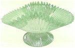 Click here to enlarge image and see more about item G-1: Green Slag Art Glass Iridized Banana Bowl - A Beauty