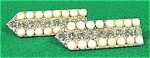 Click to view larger image of Art Deco Rhinestone Milk Glass Dress Coat Pins - Pair (Image1)
