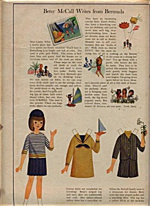 1965 Betsy McCall BERMUDA Uncut PAPER DOLL (Image1)