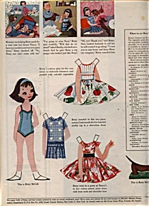 1958 Betsy McCall Paper Doll UNCUT VISITS (Image1)