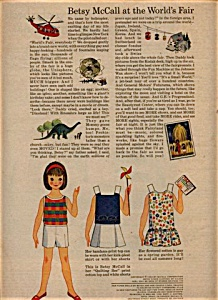 1964 Betsy McCall WORLD'S FAIR Paper Doll UNC (Image1)